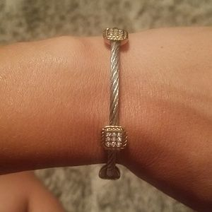 Gold and silver tone cable bracelet